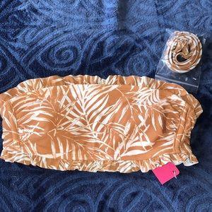 NWT Tan Floral Ruffle Bandeau